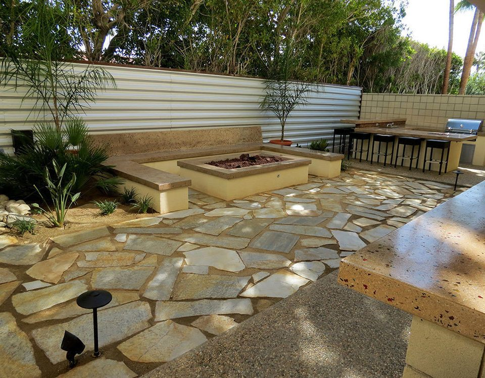 tree ground building walkway property flagstone backyard Patio yard outdoor structure Courtyard flooring Deck landscaping material stone concrete cement
