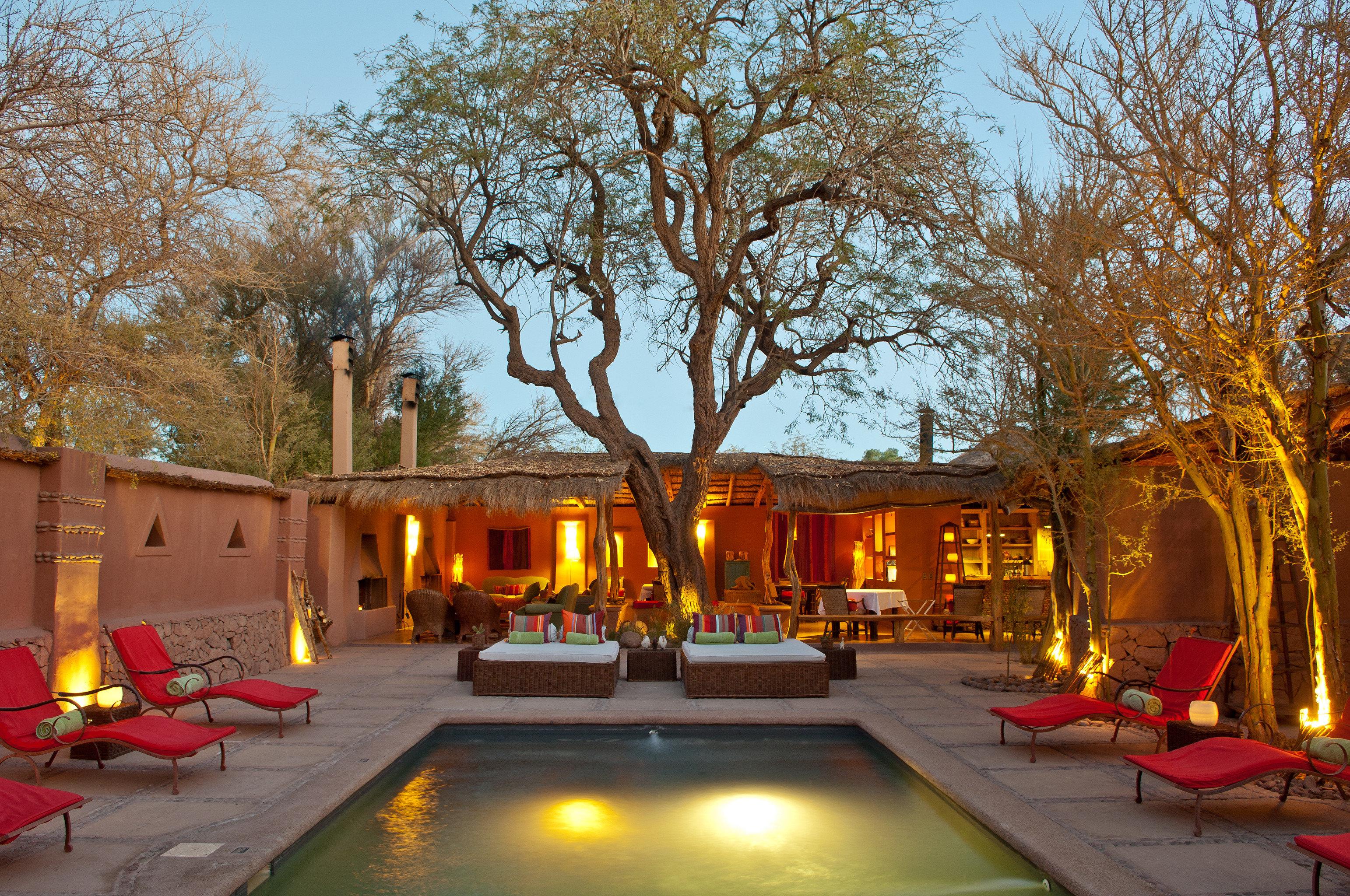 Courtyard Desert Firepit Lounge Outdoors Patio Pool Rustic tree sky street backyard flower hacienda way