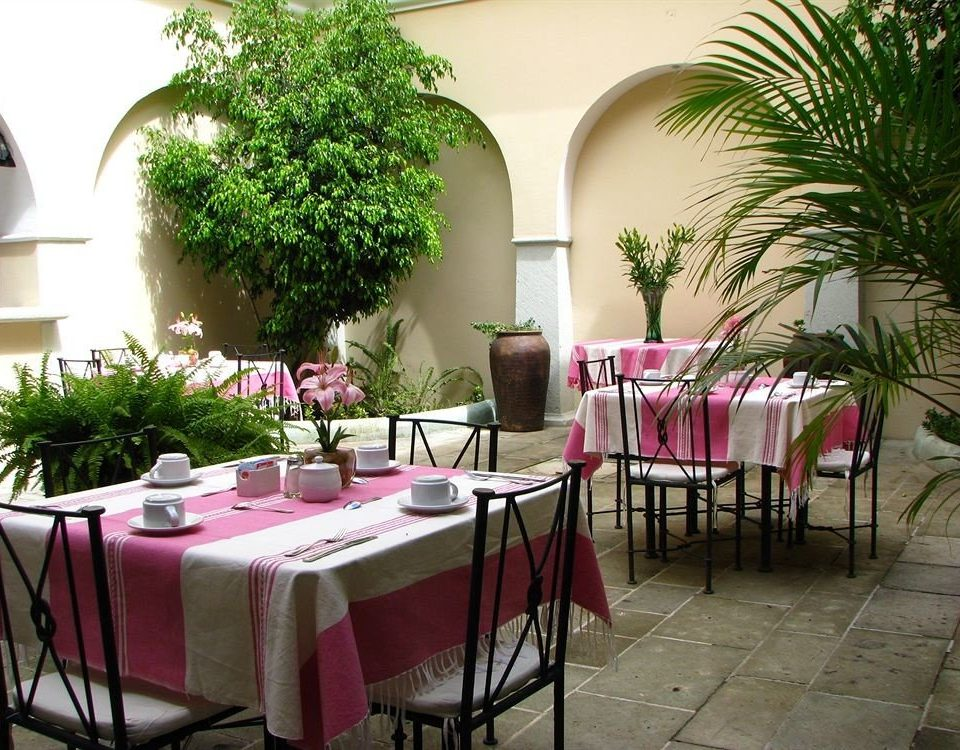 Courtyard Dining Drink Eat Patio chair red restaurant pink plant floristry hacienda function hall Resort Villa flower dining table