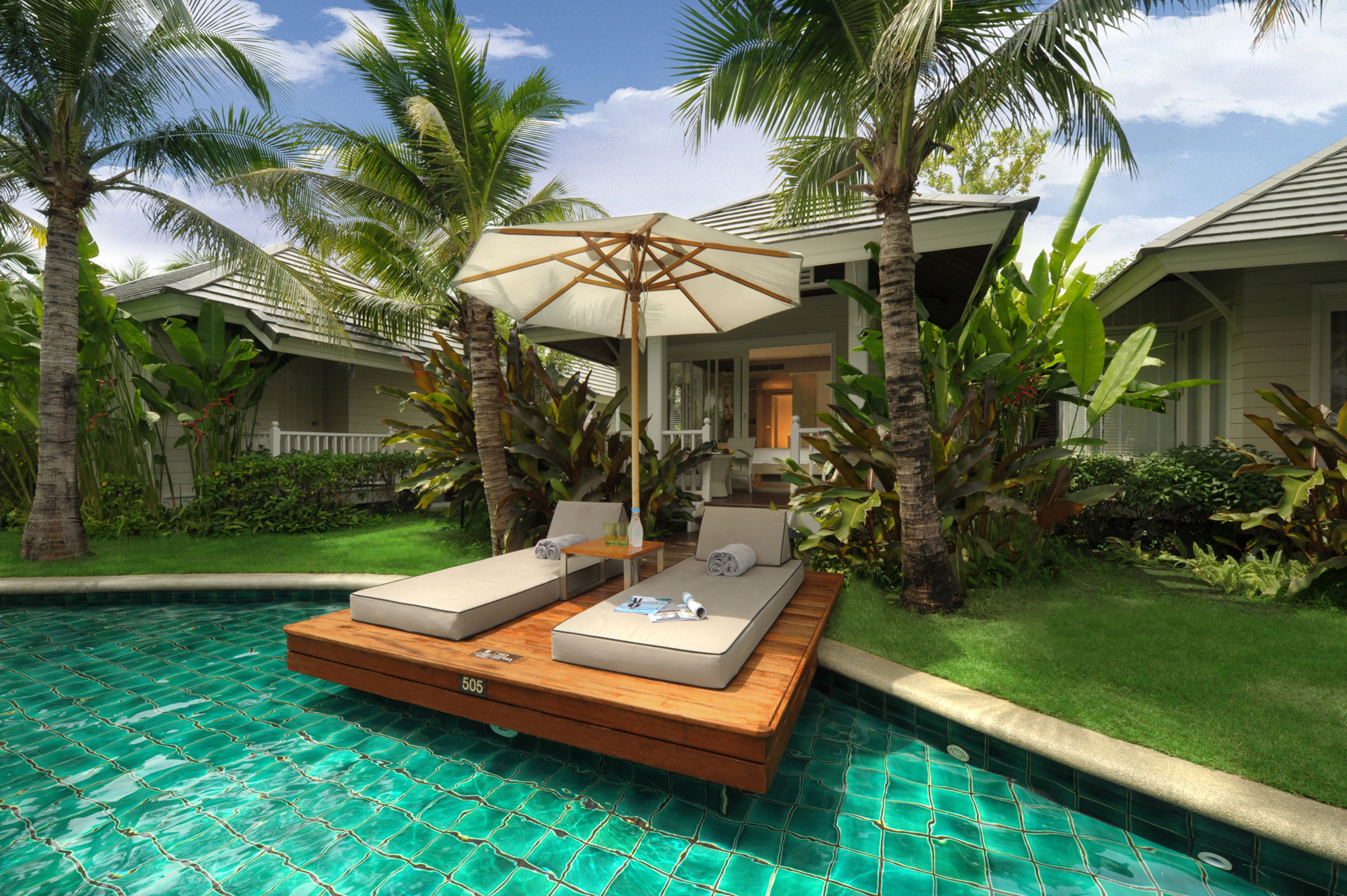 Elegant Jungle Lounge Modern Outdoors Patio Pool Romance Romantic Suite Tropical Villa tree swimming pool house property Resort condominium home backyard mansion outdoor structure eco hotel Courtyard