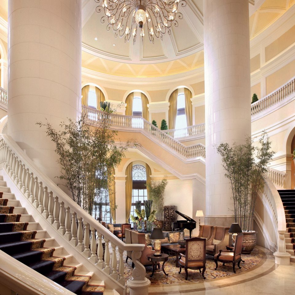 Elegant Lobby Lounge mansion palace stairs Courtyard hall colonnade