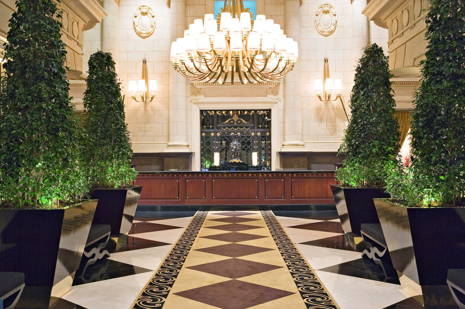 Elegant Lobby Modern tree palace mansion home Courtyard aisle ballroom plant flooring