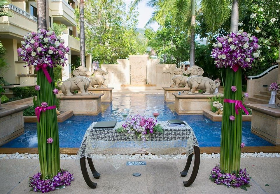 flower tree flower arranging floristry aisle backyard plant pink Courtyard Garden floral design yard water feature mansion purple colorful stone