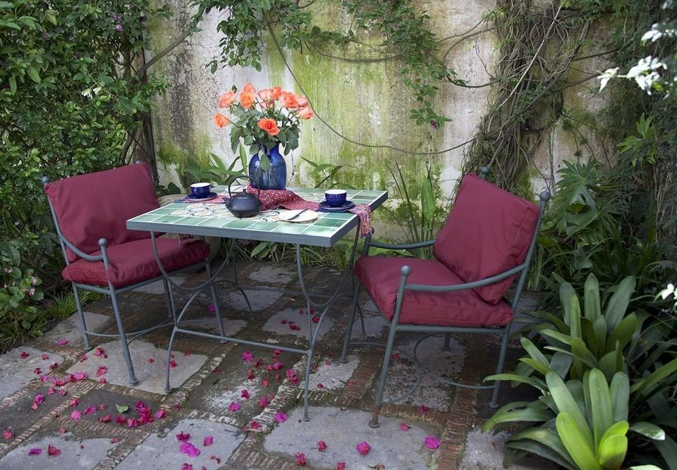 tree plant red pink flower backyard yard Garden cottage floristry outdoor structure lawn Courtyard set stone surrounded dining table