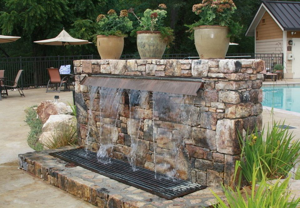 backyard pond water feature yard Garden fountain Courtyard outdoor structure stone
