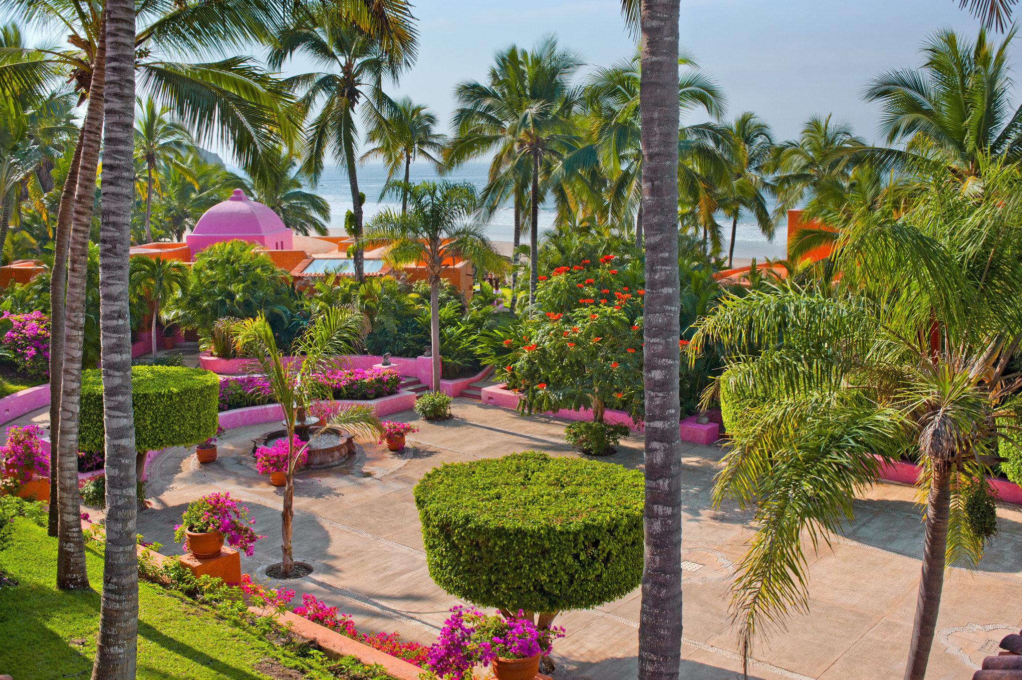 Grounds Hotels Island Romance tree sky palm Resort flora botany Garden flower plant arecales botanical garden palm family Courtyard yard lined