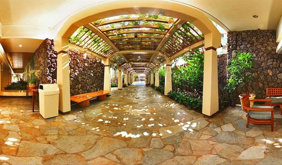 Garden Grounds Lounge Resort Lobby building Courtyard restaurant aisle stone