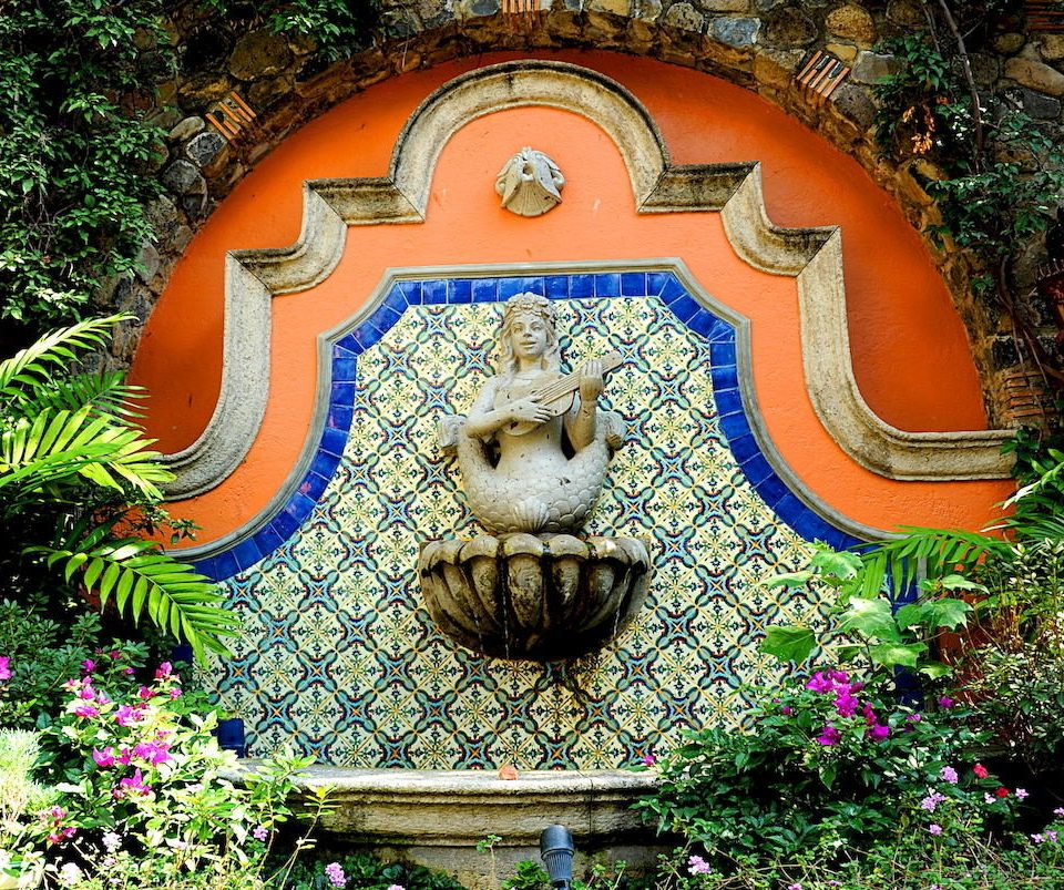 Courtyard Historic tree flower plant Garden botany art water feature Jungle park bushes painted