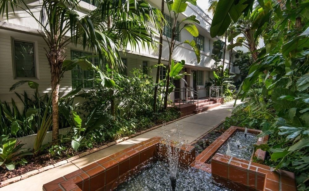 tree plant property Resort Courtyard Garden backyard yard Jungle outdoor structure walkway cottage palm