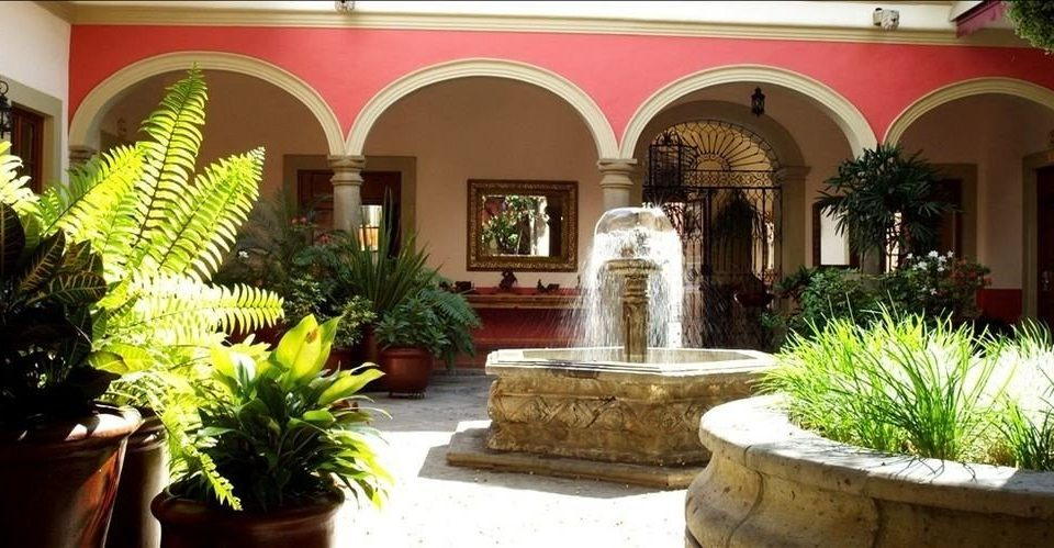 plant property Courtyard hacienda home Lobby Villa mansion palace stone Garden colonnade