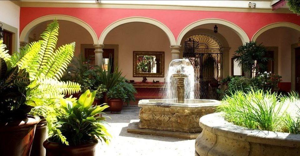 plant property Courtyard hacienda home Lobby Villa mansion palace stone Garden colonnade