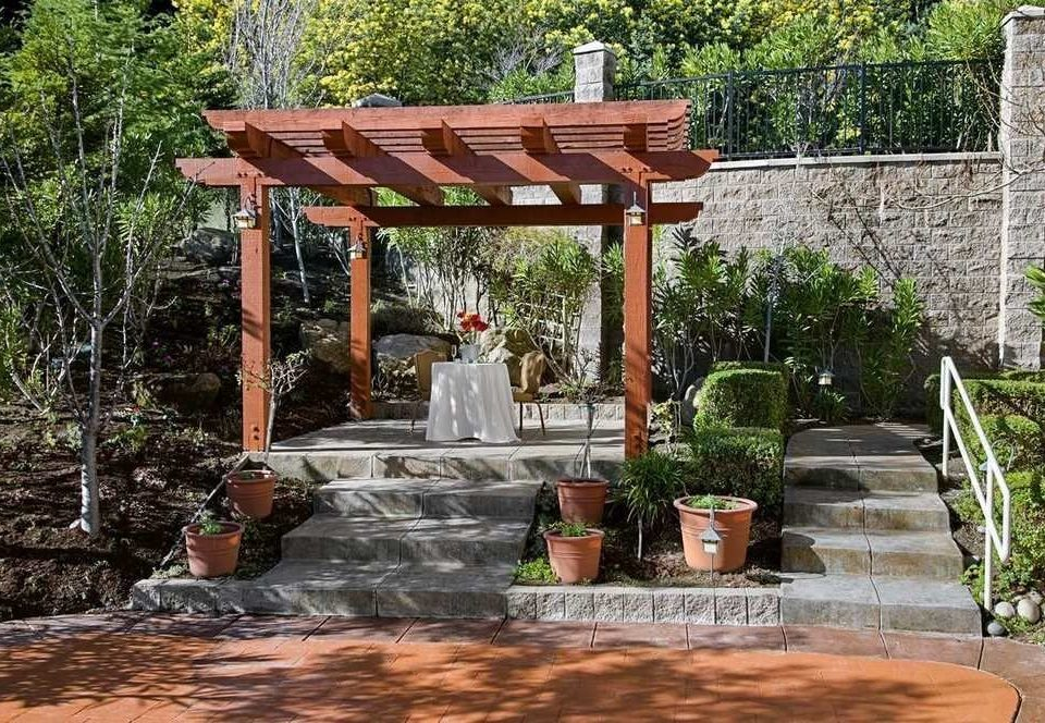 tree ground building backyard outdoor structure gazebo Garden Courtyard pergola Patio yard stone