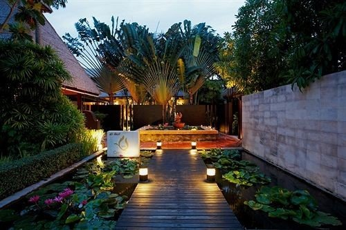 tree property Resort swimming pool hacienda Villa Courtyard mansion backyard home landscape lighting eco hotel flower Garden colorful lined stone
