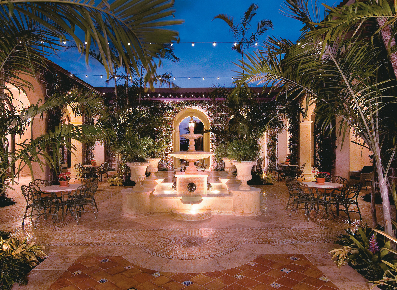 Courtyard tree Resort hacienda mansion swimming pool home arecales landscape lighting palace Villa backyard plant Garden surrounded