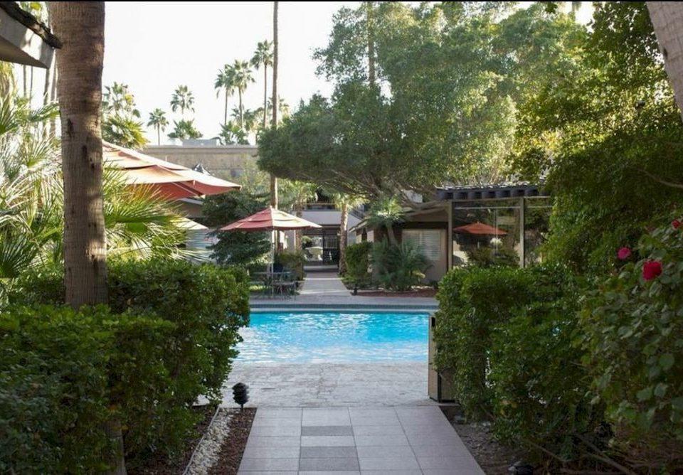 tree property swimming pool Resort house Villa home brick backyard Courtyard condominium mansion cottage hacienda stone Garden walkway