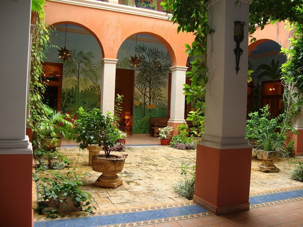 tree ground property Courtyard sidewalk hacienda arch home Garden yard Villa backyard outdoor structure plant curb stone
