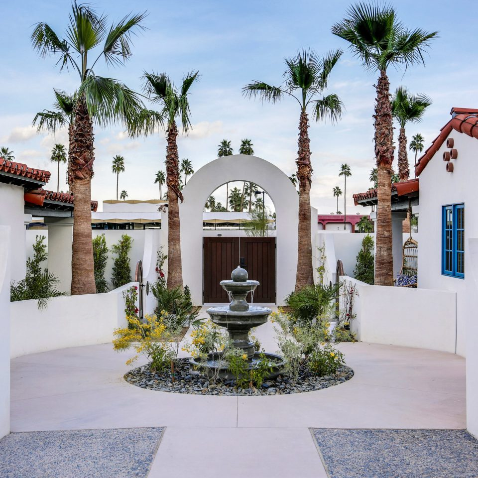 sky tree property house Courtyard home arecales palm tree hacienda mansion Villa place of worship Garden stone