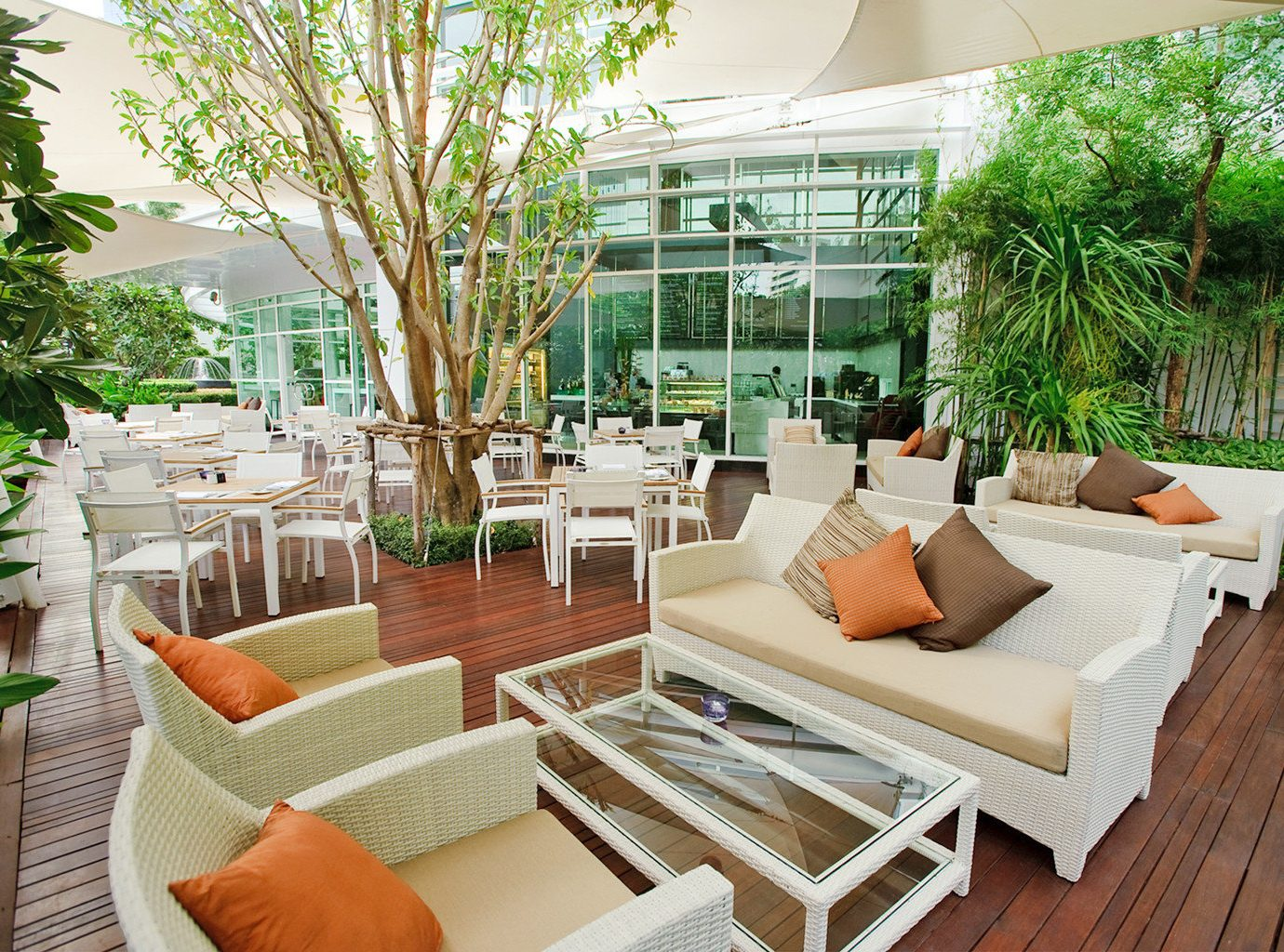 Hip Lounge Luxury Modern tree property chair condominium Resort home Courtyard Villa backyard outdoor structure living room cottage Lobby Patio porch