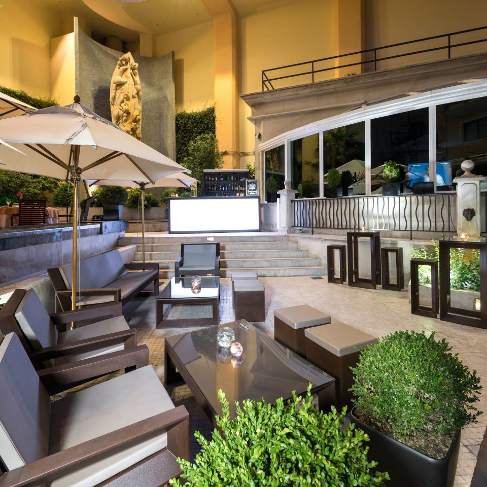 Hip Luxury Modern condominium Resort plant building Lobby Courtyard home restaurant
