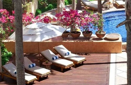 Hip Luxury Pool Romantic tree property backyard outdoor structure home Villa Resort Courtyard swimming pool cottage