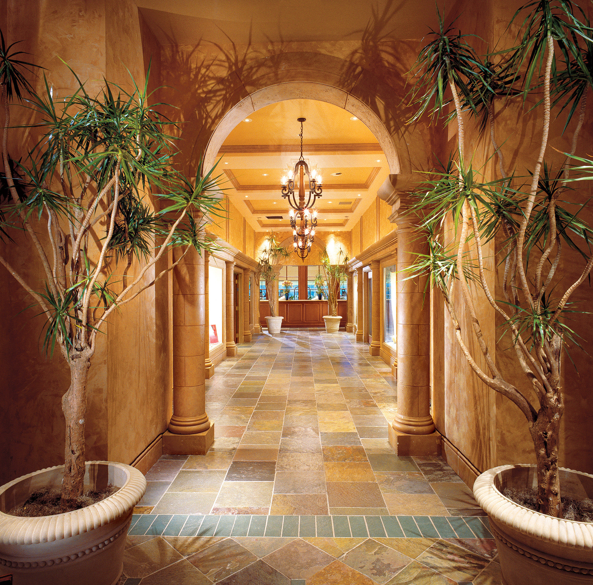 Lobby plant home mansion Courtyard palace hacienda living room arch stone