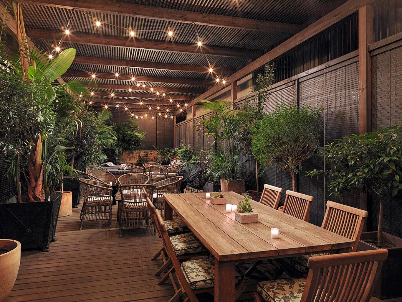 building chair wooden restaurant Lobby Resort backyard Courtyard outdoor structure set