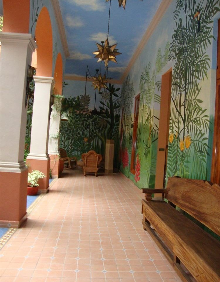property building house hardwood home hacienda flooring Courtyard Lobby Villa living room mural cottage