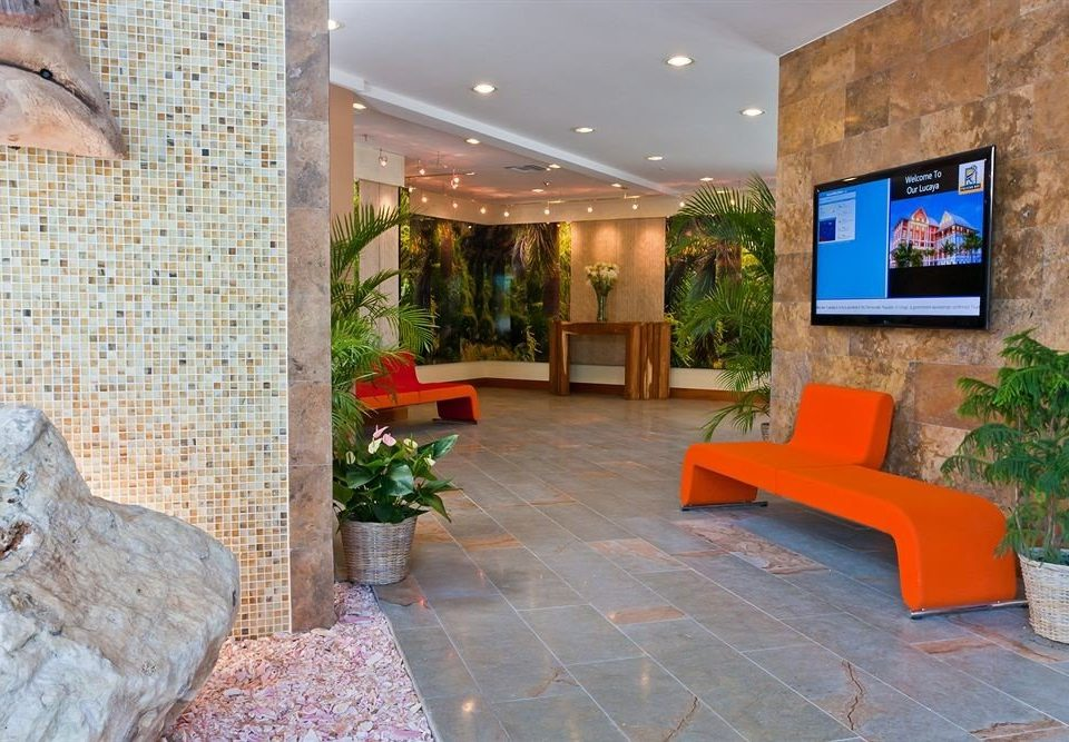 property Lobby home Courtyard living room Villa hacienda orange stone seat sofa colored