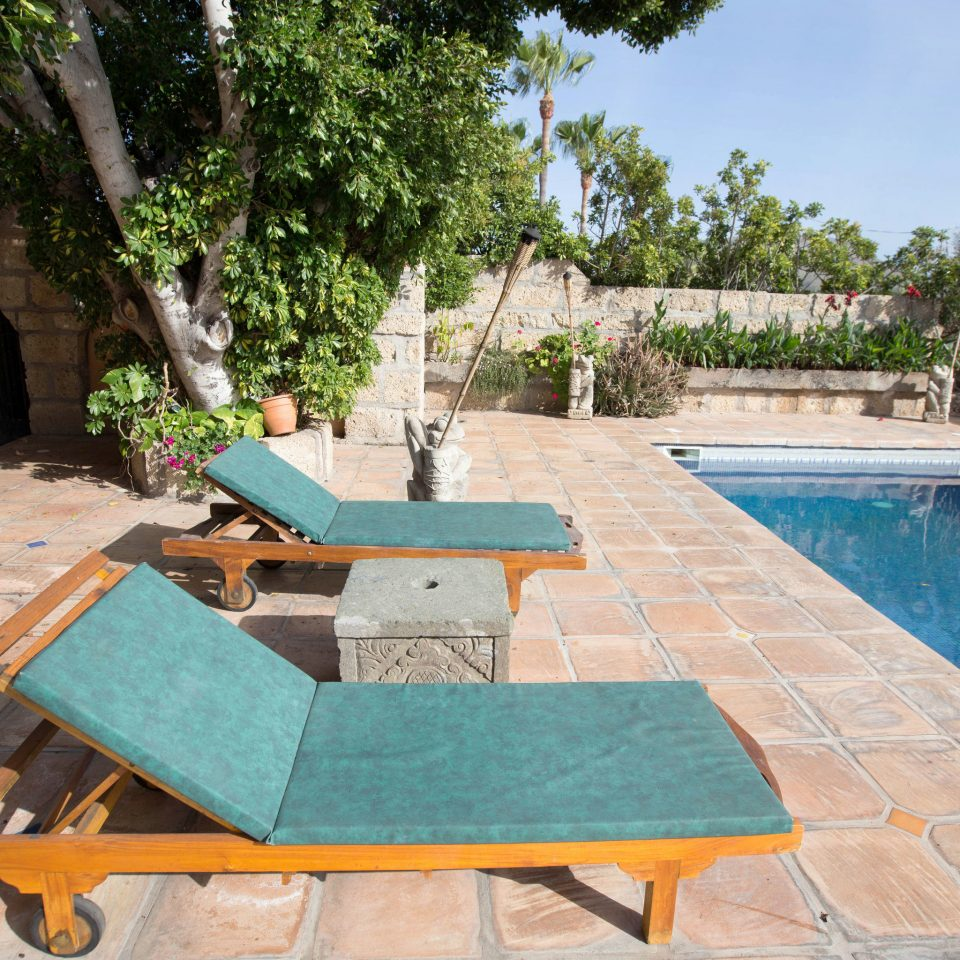 tree ground swimming pool property chair leisure backyard Pool Villa green outdoor structure Courtyard yard Patio Resort hacienda shade