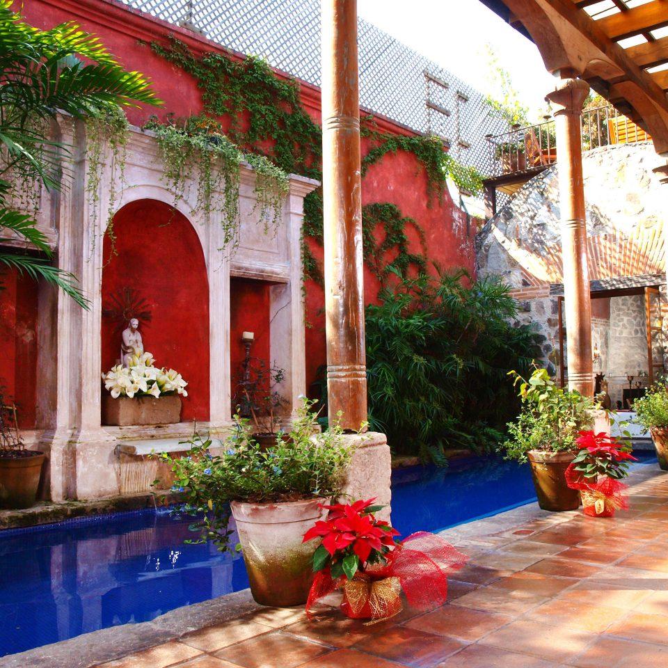 Courtyard Pool Rustic building house hacienda Resort swimming pool home Villa backyard