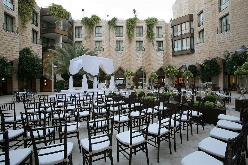 chair restaurant plaza palace Courtyard Resort lined set dining table