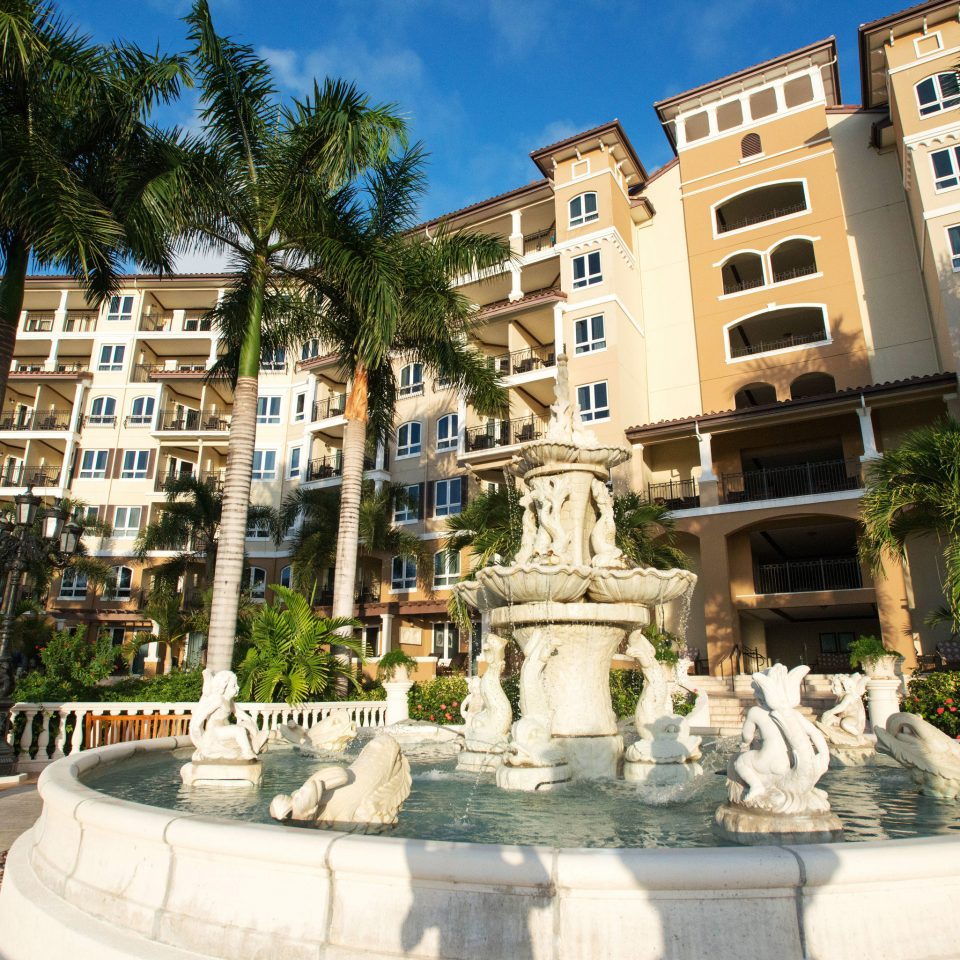 tree building plaza landmark Town town square water feature fountain palace condominium Courtyard Resort apartment building stone