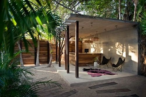 tree property building Resort house home Villa hacienda cottage Courtyard backyard eco hotel plant