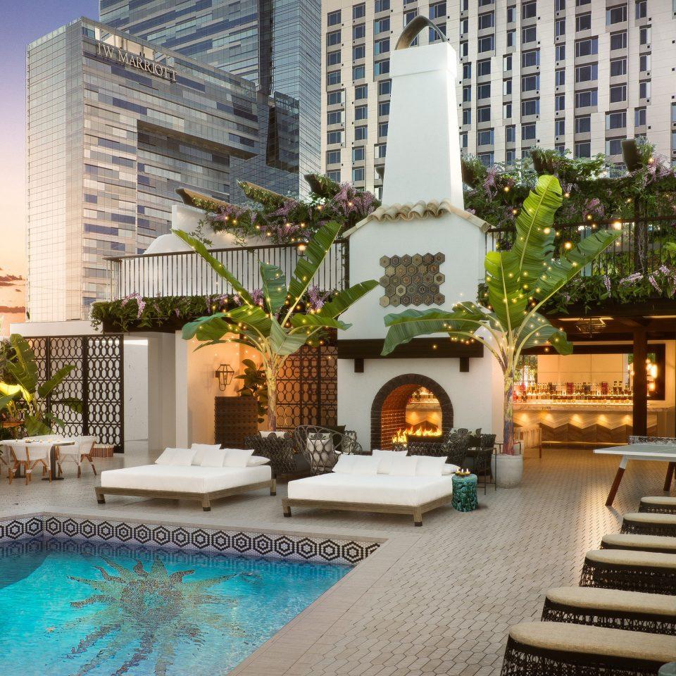 property condominium Courtyard flower swimming pool Resort home Villa backyard mansion hacienda