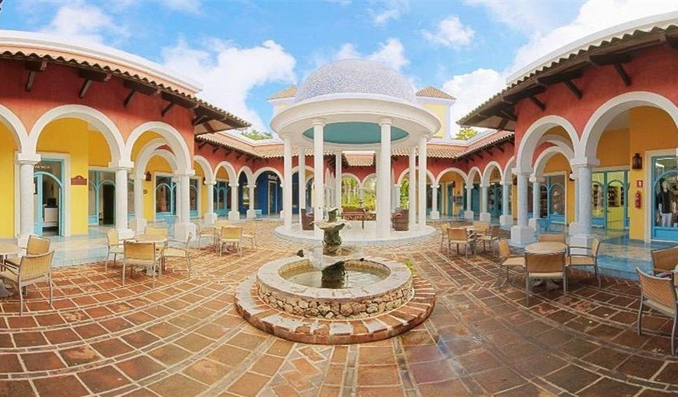 building property leisure palace plaza hacienda mansion Resort Villa Courtyard old stone colonnade