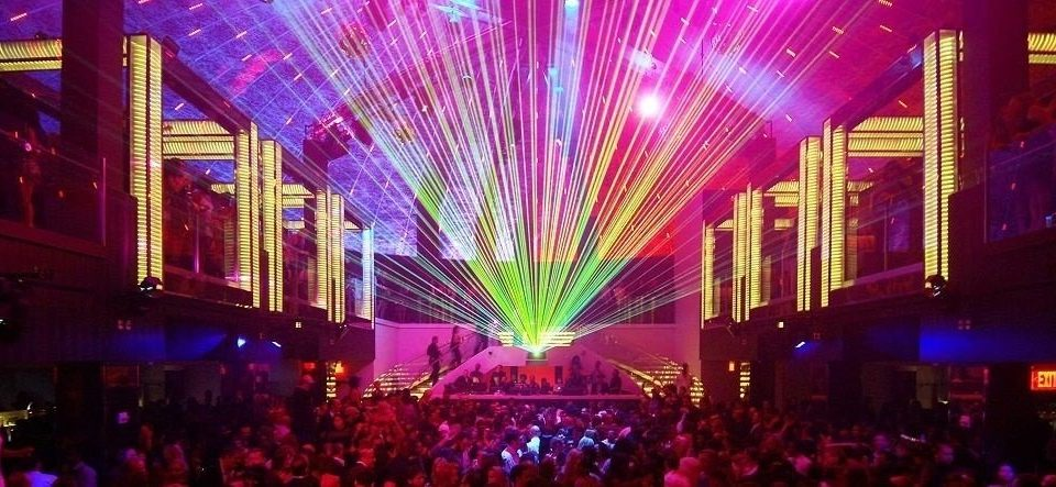 crowd nightclub disco night stage music venue musical theatre laser