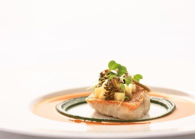 plate food cuisine dessert fish piece de resistance