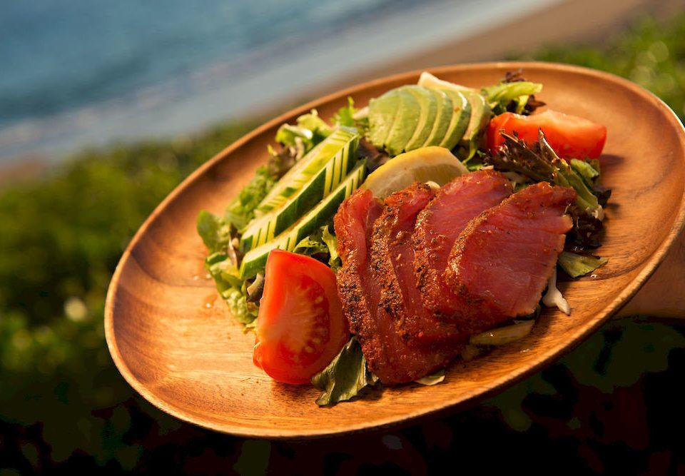 food plate meat fish cuisine lunch restaurant roast beef steak piece de resistance