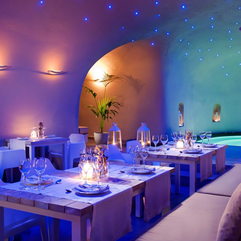 Cultural Dining Drink Eat Island Modern Outdoors Scenic views blue restaurant function hall lighting Party