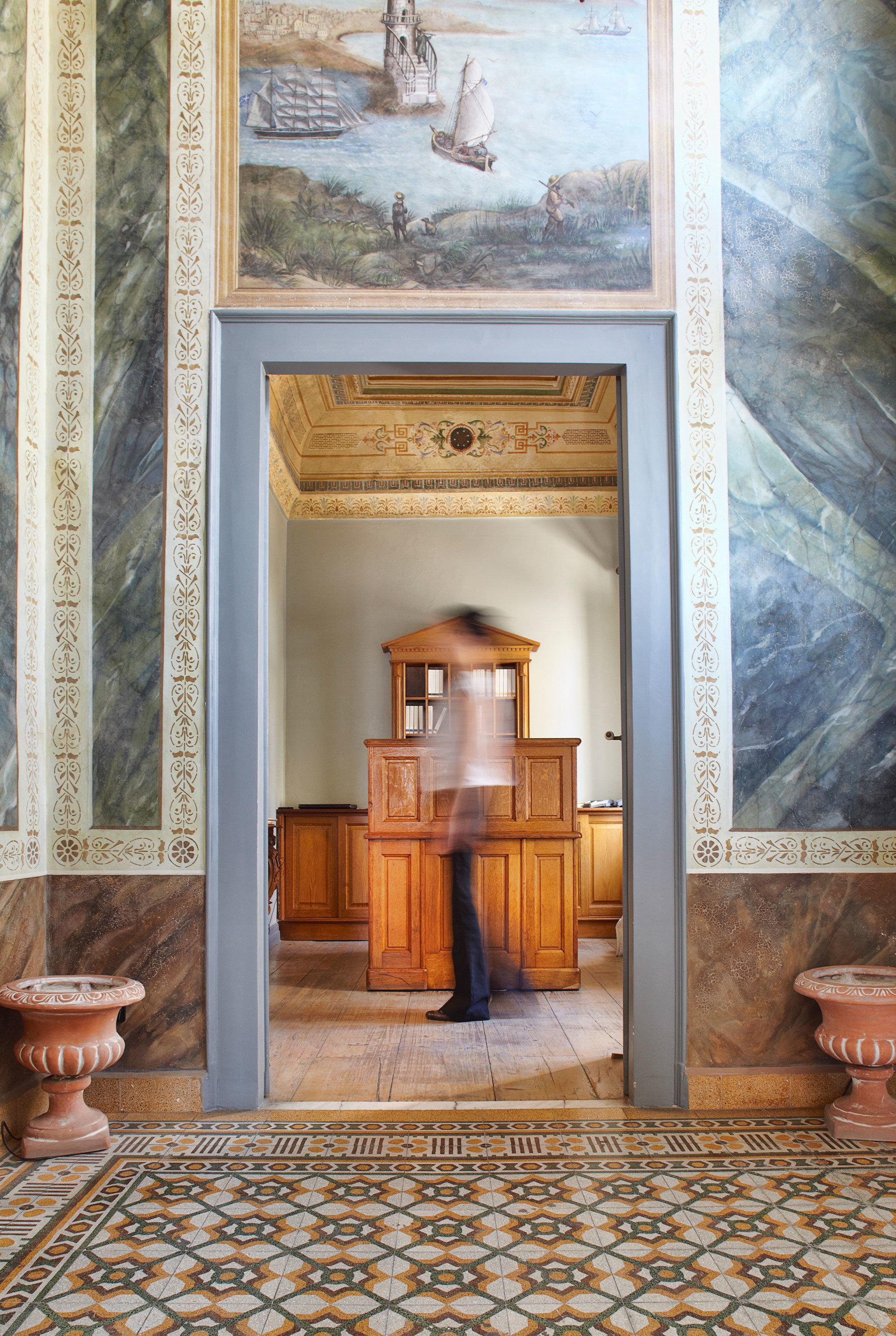 Cultural Elegant Historic home living room flooring door hall stone
