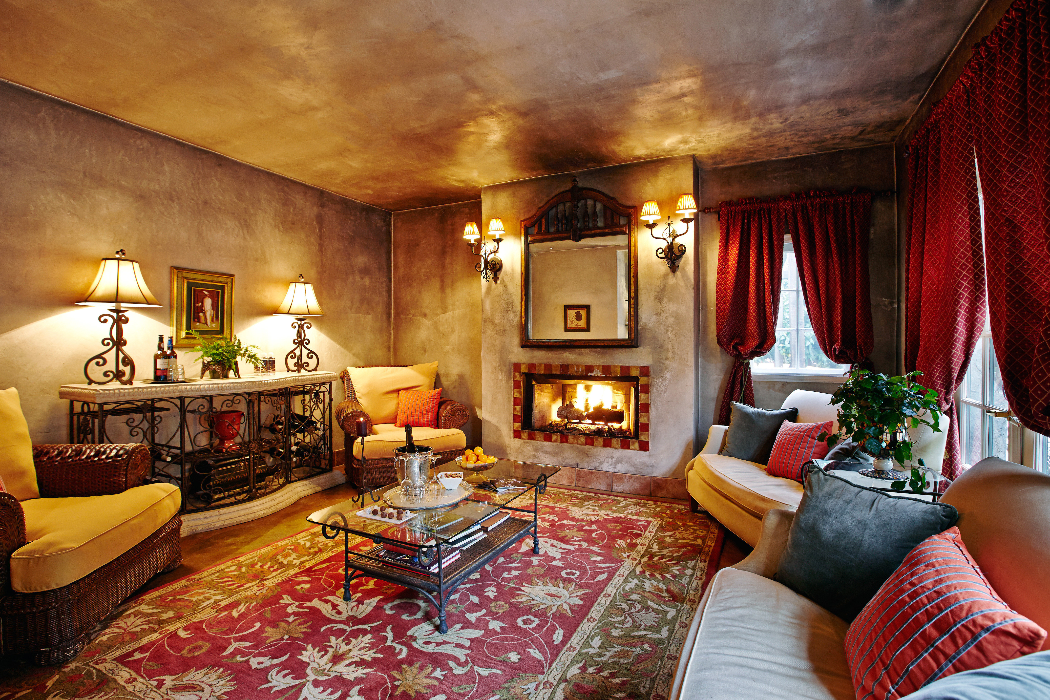 Cultural Fireplace Luxury property living room house home Suite cottage Villa mansion