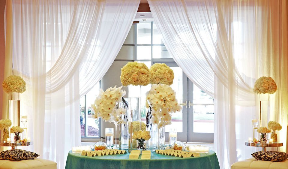 yellow curtain textile window treatment dining table