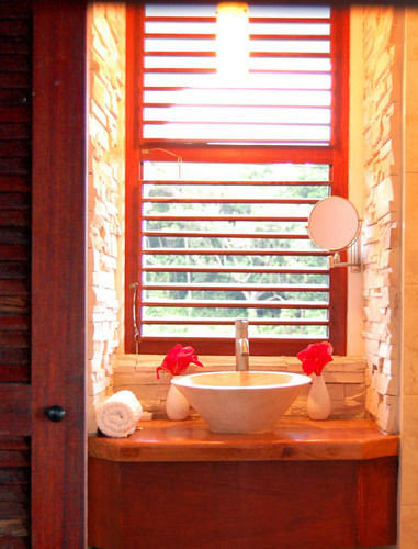 red wooden window treatment curtain window blind
