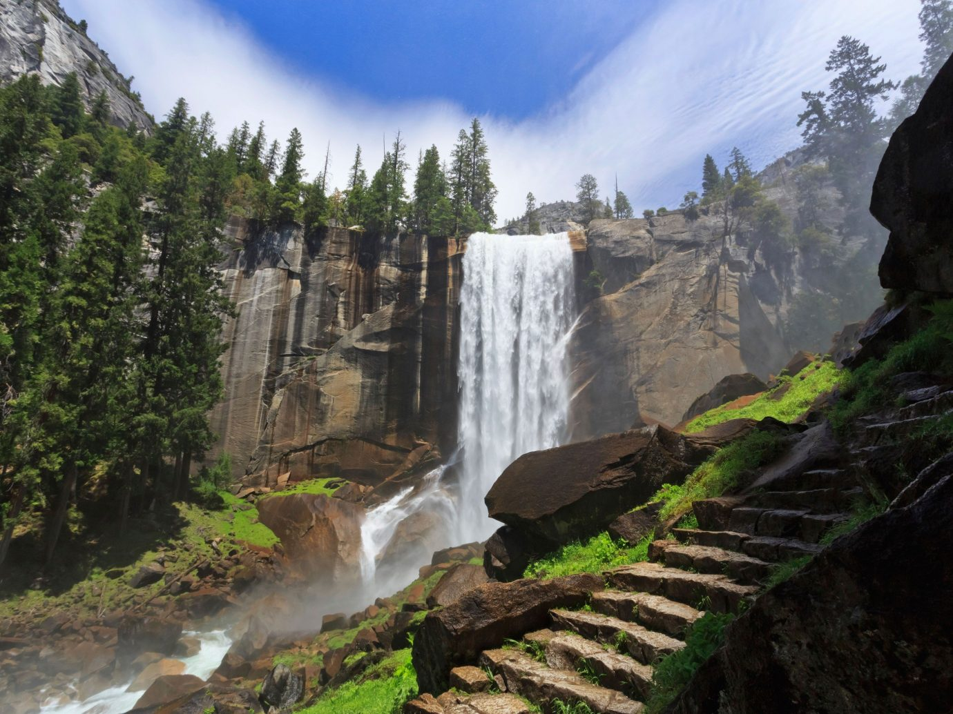 Health + Wellness Outdoors + Adventure tree outdoor sky Nature Waterfall mountain wilderness body of water geological phenomenon water feature valley mountain range ravine Forest terrain cliff canyon national park hillside wood dirt surrounded