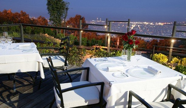 sky property restaurant roof outdoor structure Deck overlooking dining table day