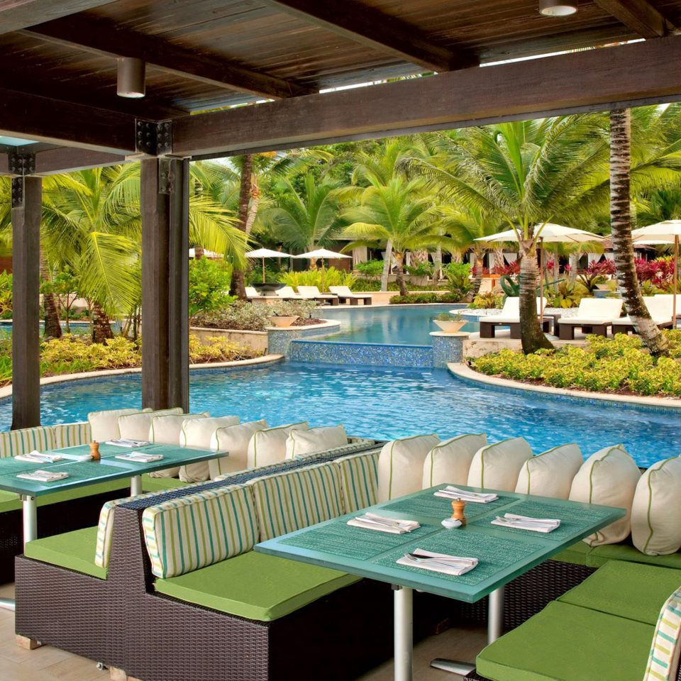 Dining Drink Eat Hotels Luxury Play Pool Resort Trip Ideas leisure property swimming pool backyard Villa eco hotel restaurant outdoor structure Deck porch set