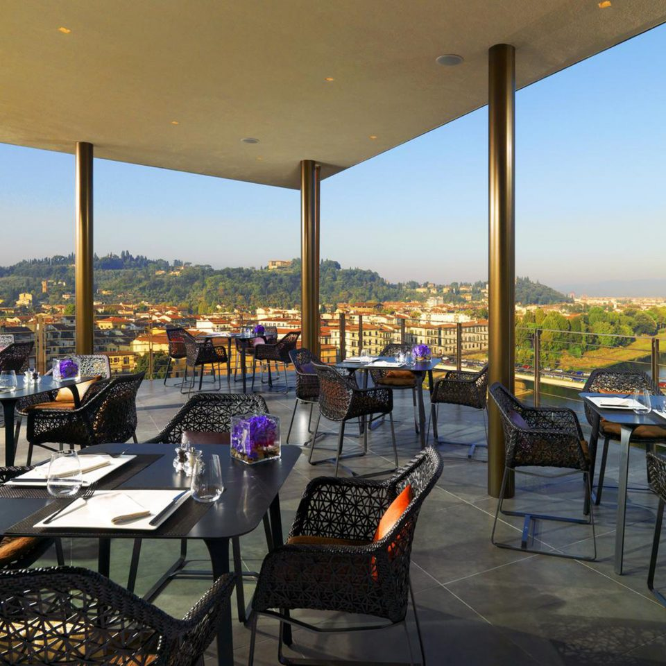 Deck Dining Florence Hotels Italy sky chair restaurant Resort overlooking set day