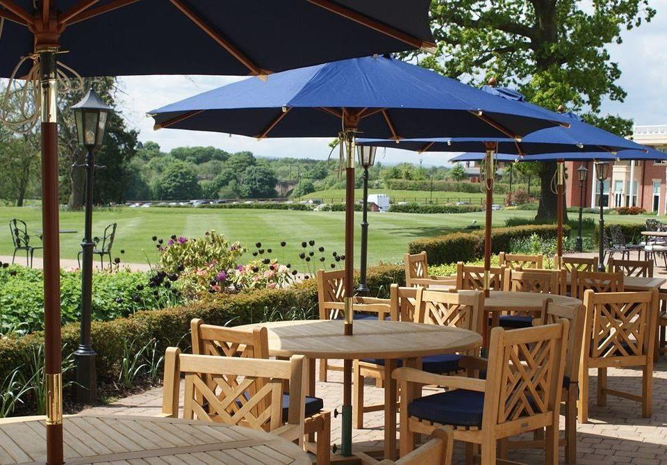 tree umbrella chair Dining lawn Resort set gazebo cottage restaurant outdoor structure Deck shade day