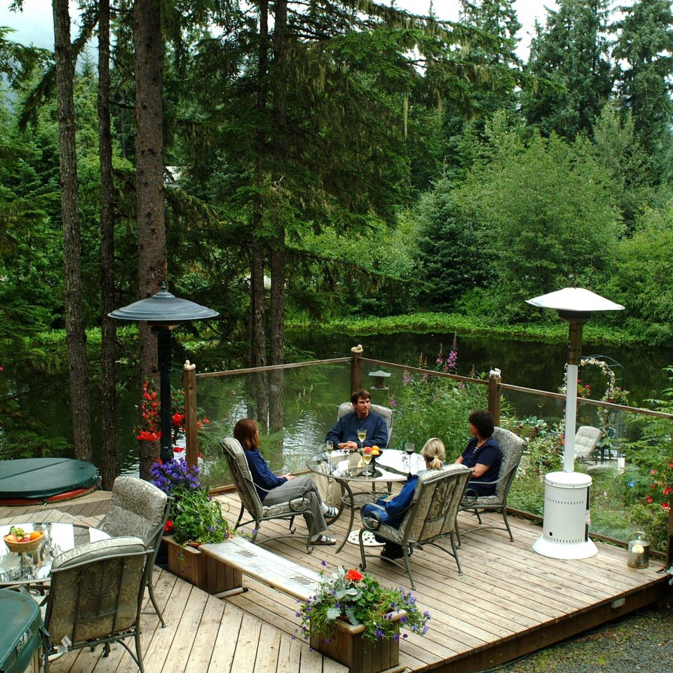 Deck Drink Eat Lake Lodge Outdoors tree backyard Garden yard park Jungle woodland