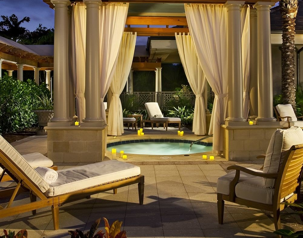 Deck Elegant Hot tub/Jacuzzi Outdoors Patio Romantic chair curtain living room Lobby home mansion Resort Villa Suite backyard